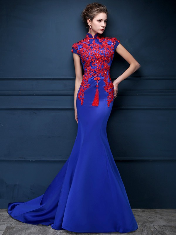 Blue qi pao dress images