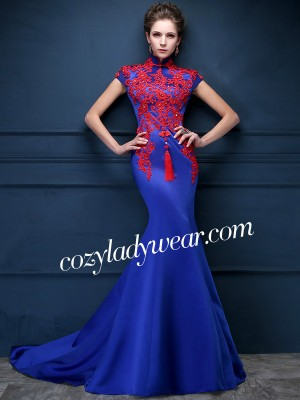 Blue Custom Tailored Qipao / Cheongsam Dress with Carpet Train