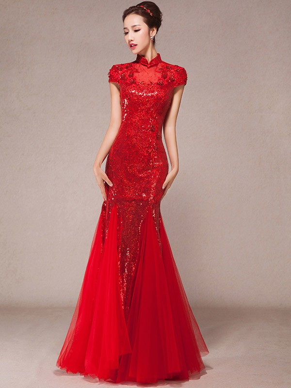 Sequined Fishtail Cheongsam / Qipao Wedding Dress with Tiered Hem