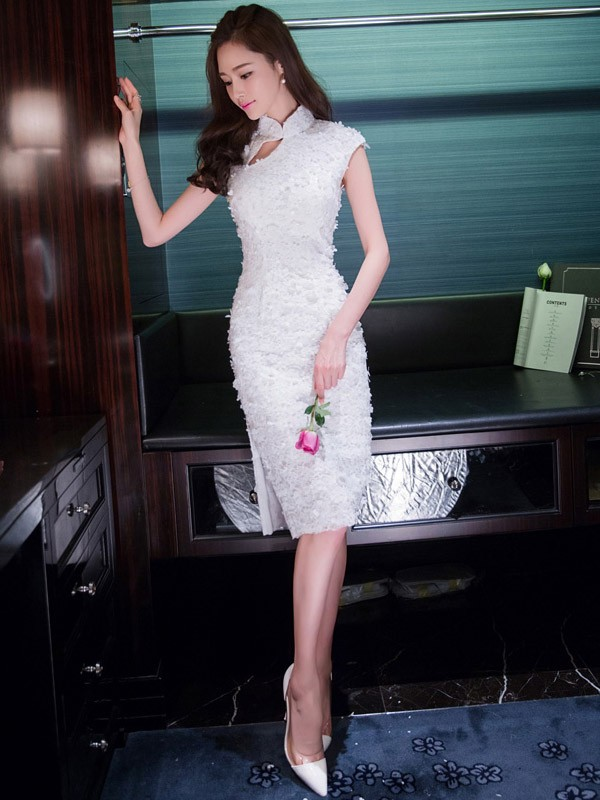 Lace Overlay Qipao / Cheongsam Dress with Keyhole
