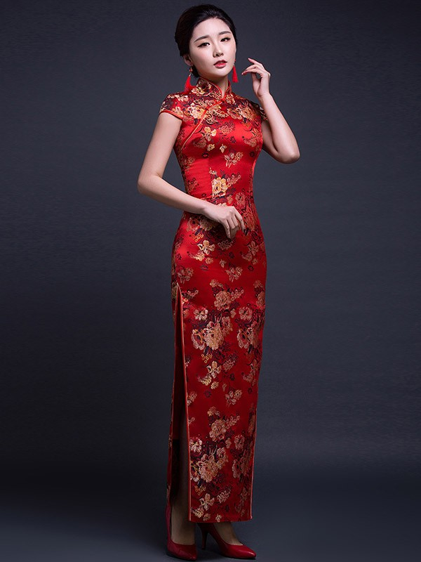 Red Silk Ankle-Length Qipao / Cheongsam Wedding Dress with Peony Pattern