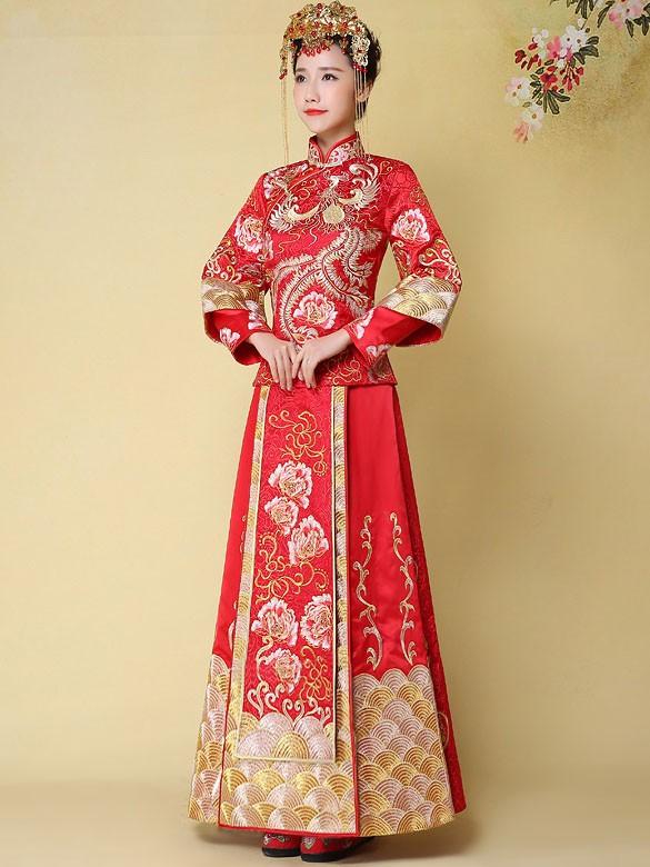 Phoenix Emboridery 2-Piece Chinese Wedding Qun Kwa