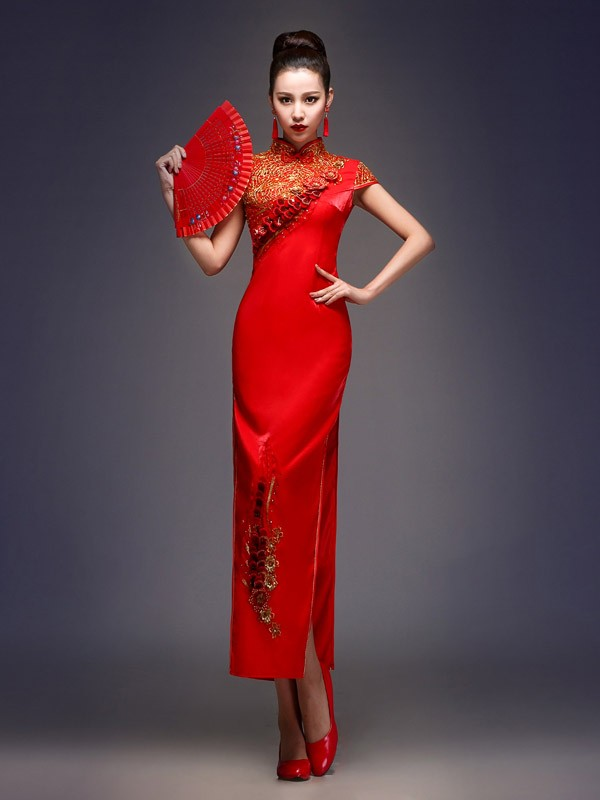 Red Split Ankle-Length Qipao / Cheongsam Wedding Dress with Applique