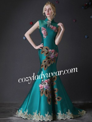 Custom Tailored Embroidery Qipao / Cheongsam Dress with Train