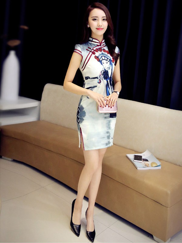 Modern Qipao / Cheongsam Dress in Beijing Opera Pattern