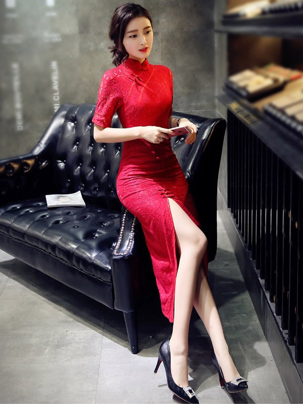 Red Lace Qipao / Cheongsam Prom Dress with Split Front