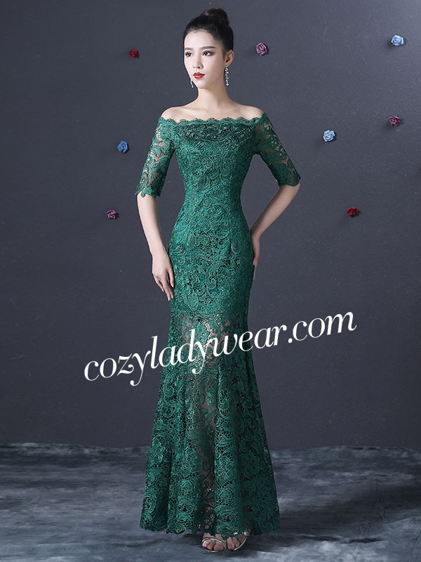 Green Lace Fishtail Qipao Cheongsam Dress Cozyladywear
