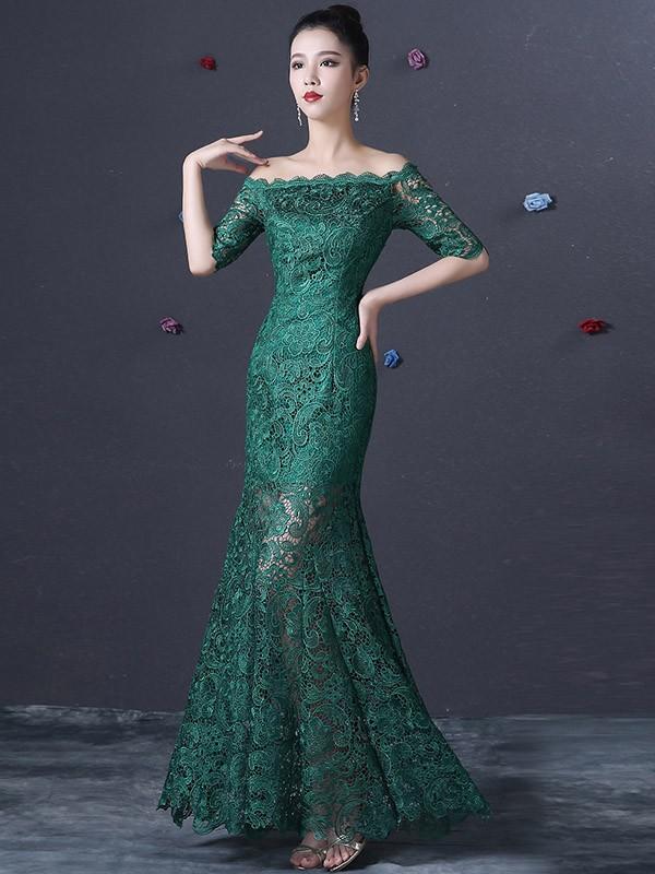 Green Lace Fishtail Qipao / Cheongsam Dress