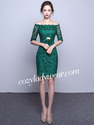 Green Off Shoulder Bodycon Qipao / Cheongsam Dress