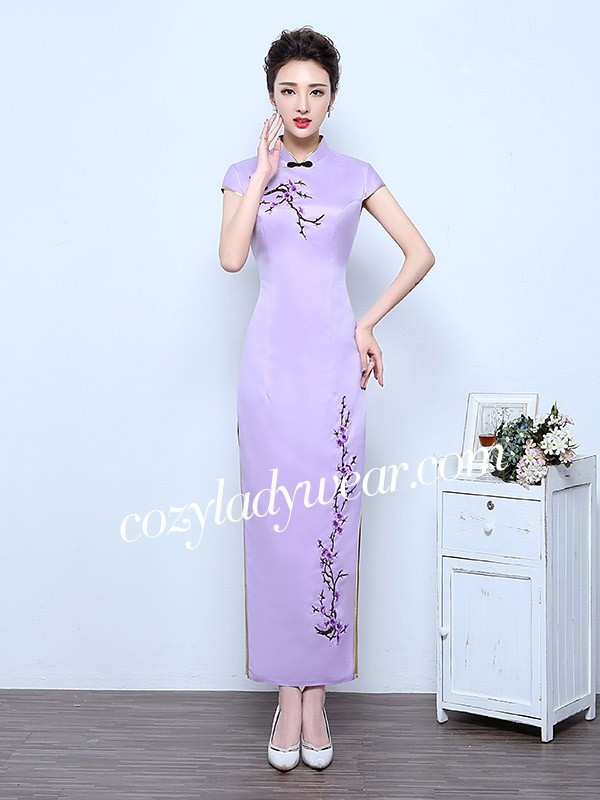 eecd6f2093d Purple Ankle-Length Qipao   Cheongsam Wedding Dress with Floral Embroidery. Loading  zoom