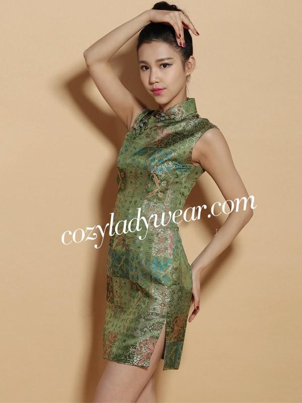 Custom Tailored Green Silk Floral Qipao / Cheongsam Dress