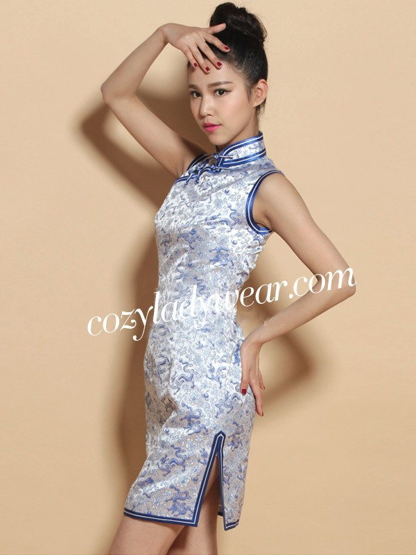 Custom Tailored Dragon Print Qipao / Cheongsam Party Dress