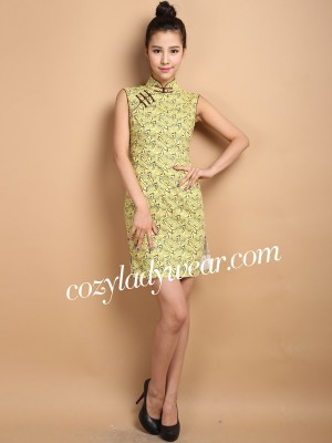Custom Tailored Yellow Floral Qipao / Cheongsam Dress