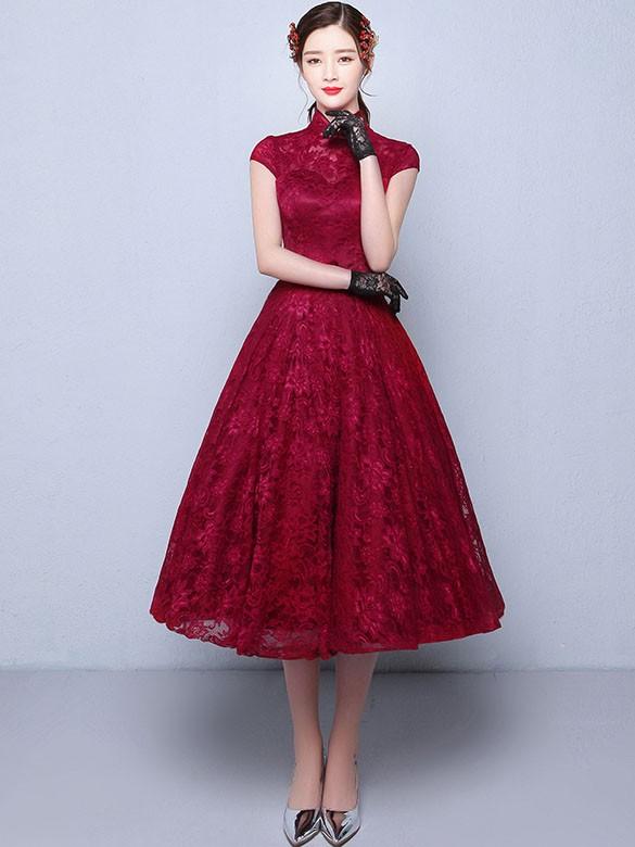 Tea Length A Line Qipao Cheongsam Wedding Dress In Lace