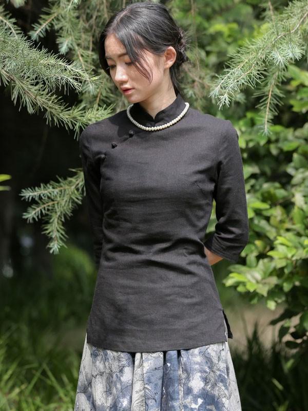 Linen Mandarin Collar Qipao / Cheongsam Shirt