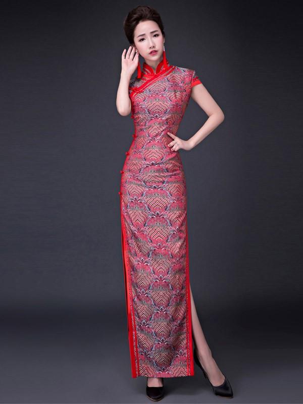 Silk Mandarin Collar Qipao / Cheongsam Prom Dress with Split