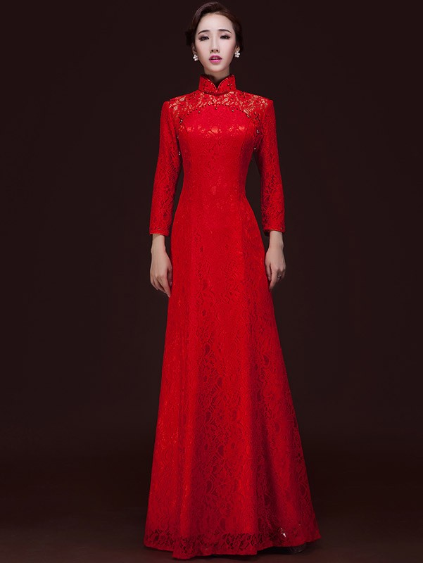 Red Long Sleeve Cheongsam / Qipao / Chinese Wedding Dress - CozyLadyWear