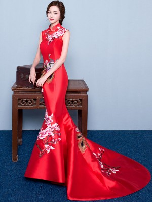 Custom Tailored Mermaid Train Qipao / Cheongsam Dress with Floral Embroidery
