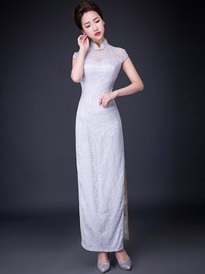 Lace Ankle-Length Qipao / Cheongsam Prom Dress with Split