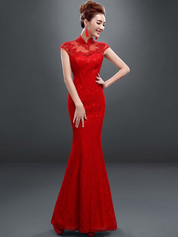 Lace Fishtail Qipao / Cheongsam Wedding Dress with Keyhole Back