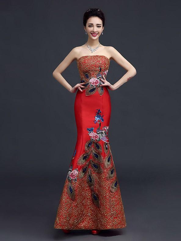Embroidered Bandeau Fishtail Qipao / Cheongsam Wedding Gown
