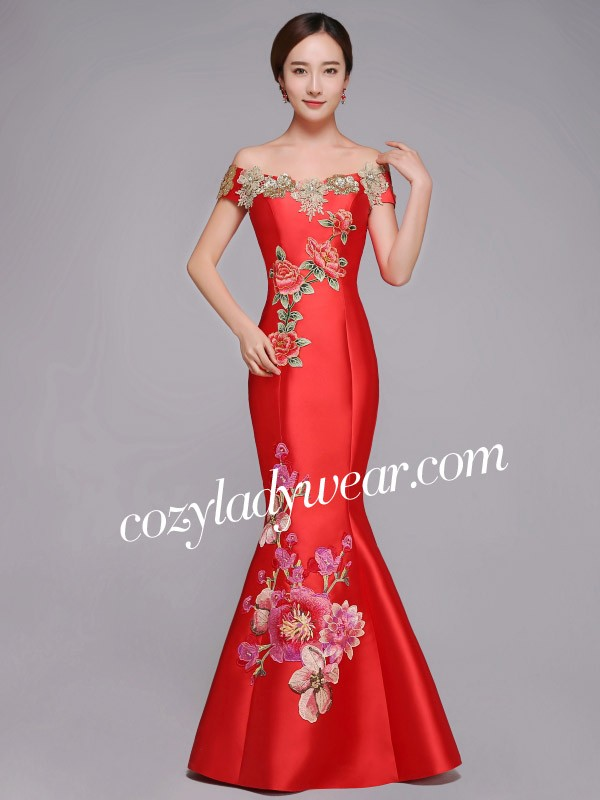 cf39181451177 Red Embroidered Off Shoulder Fishtail Qipao / Cheongsam Wedding Dress. Loading  zoom