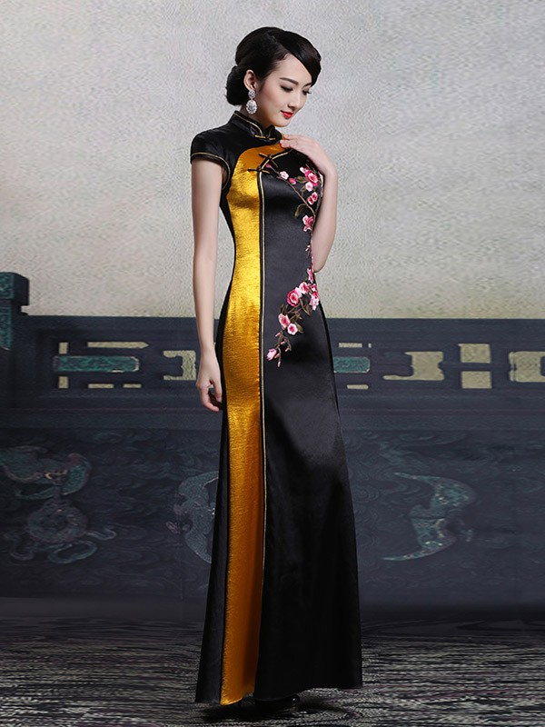 Custom Tailored Black Fishtail Qipao / Cheongsam Maxi Dress