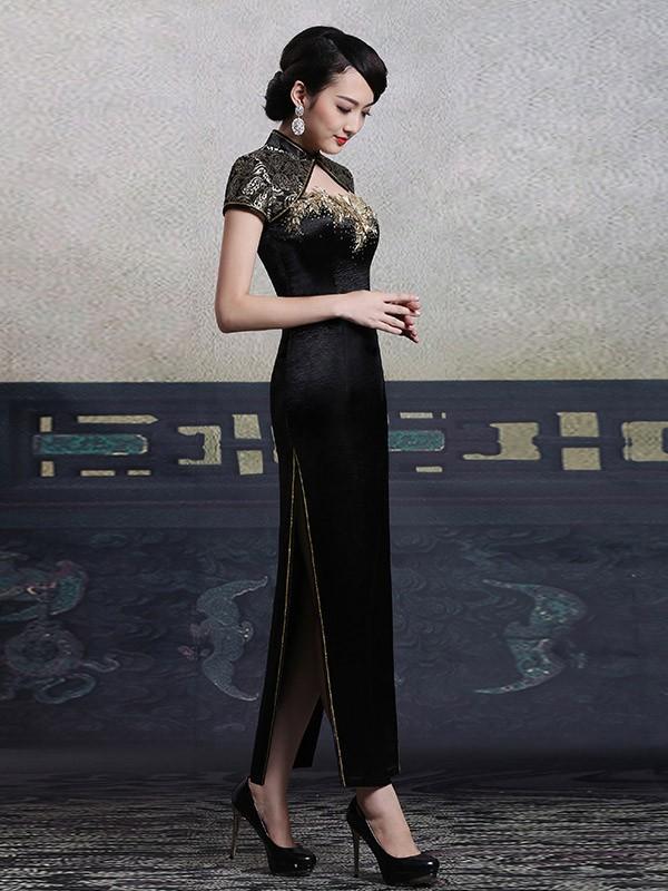 Custom Tailored Black Qipao / Cheongsam Dress with Keyhole