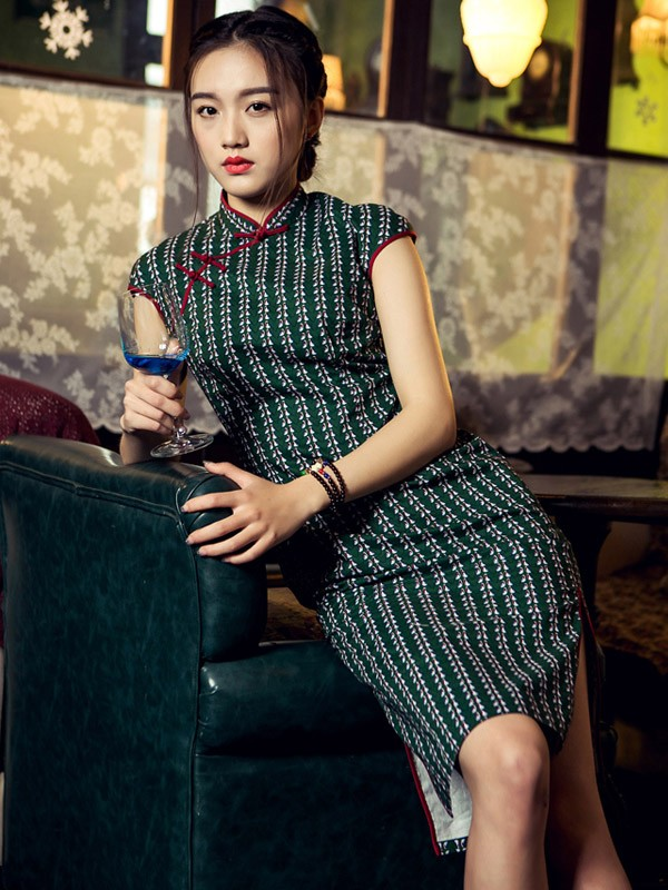 Green Mid Qipao / Cheongsam Dress Stripe
