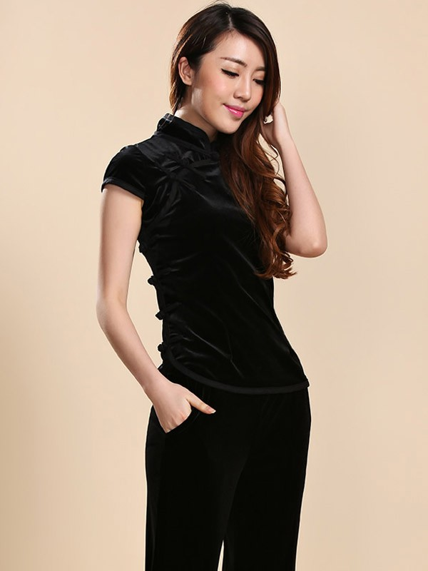 Black Stretchy Velour Mandarin Collar Qipao / Cheongsam Shirt with Short Sleeves