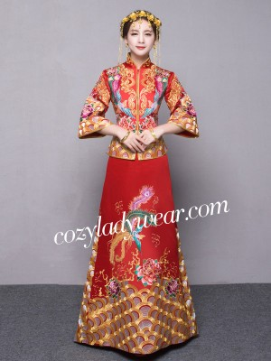 Red Embroidered Train Chinese Wedding Qun Kwa - Jacket & Skirt