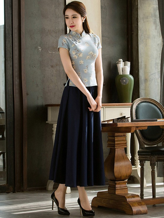Blue Floral Linen Mandarin Collar Qipao / Tang Shirt