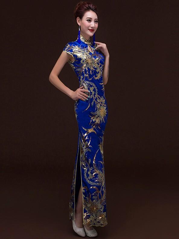 Ankle-length Sequins Floral Cheongsam / Qipao Evening Dress