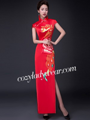 Embroidered Ankle Length Qipao / Cheongsam Wedding Dress