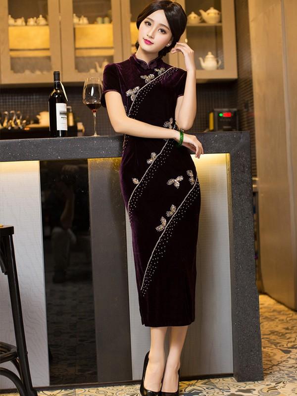 Purple Sequins Velour Tea-Length Qipao / Cheongsam Dress