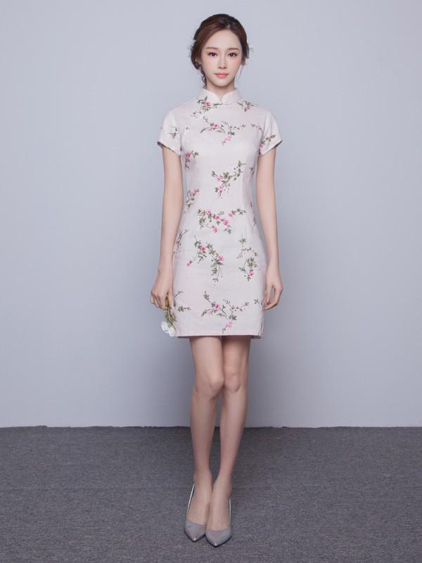 Beige Floral Linen Qipao / Cheongsam Dress