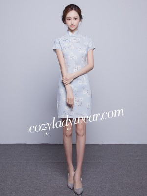Blue Short Floral Qipao / Cheongsam Dress