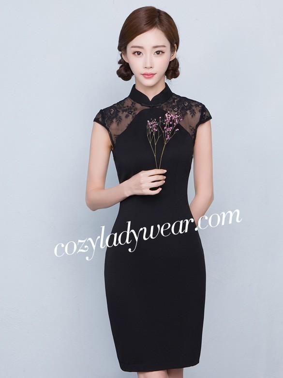 Black Sheer Lace Insert Qipao Cheongsam Dress Cozyladywear