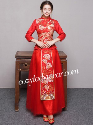 Phoenix Embroidery Chinese Wedding Qun Kwa - Jacket & Skirt