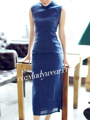Blue Tea-Length Linen Qipao / Cheongsam Dress
