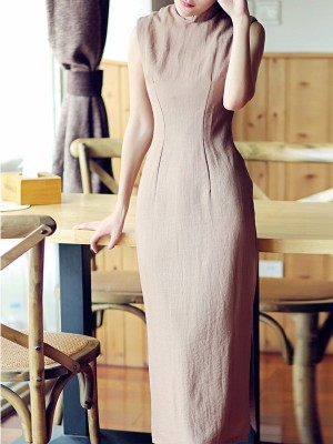 Coffee Tea-Length Linen Qipao / Cheongsam Dress