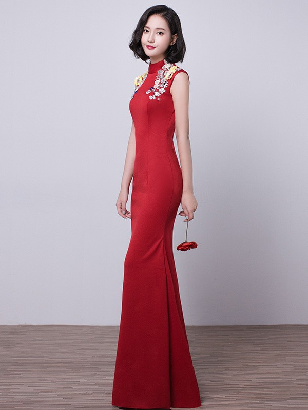 Wine Red High Neck Qipao / Cheongsam Wedding Dress with Appliques