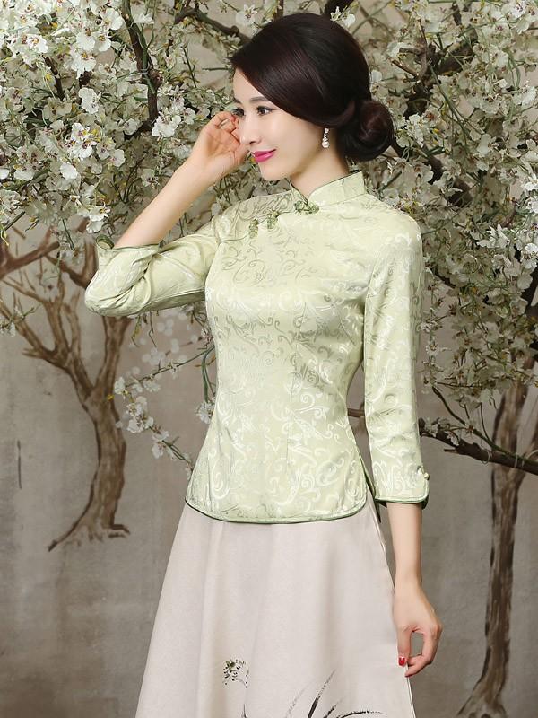 Green Mandarin Collar Qipao / Tang Shirt