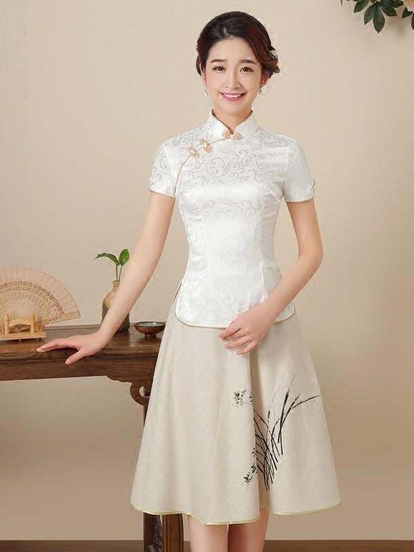 White Floral Mandarin Collar Qipao / Cheongsam Top