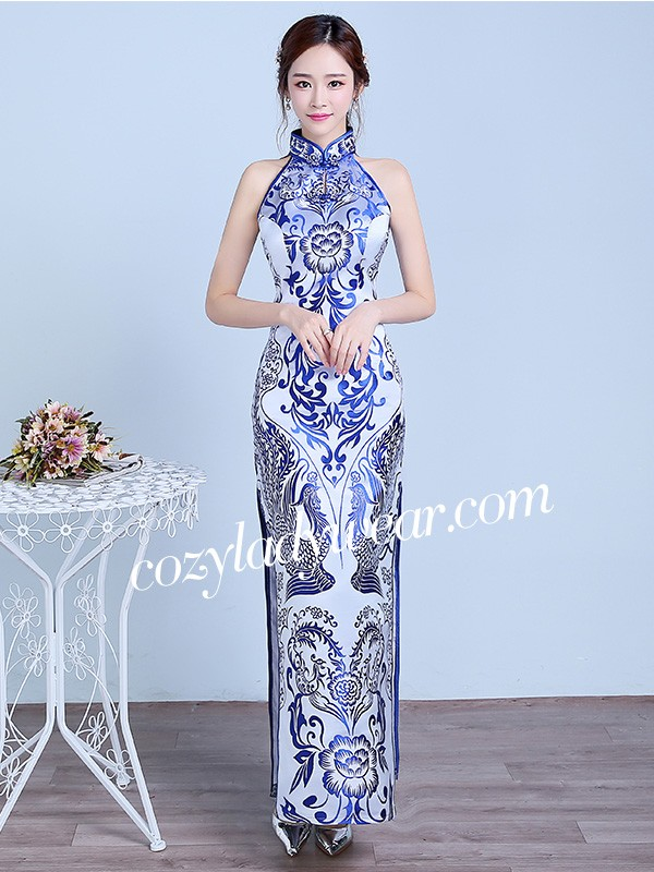 Blue Floral Halter Qipao Cheongsam Prom Dress With Split