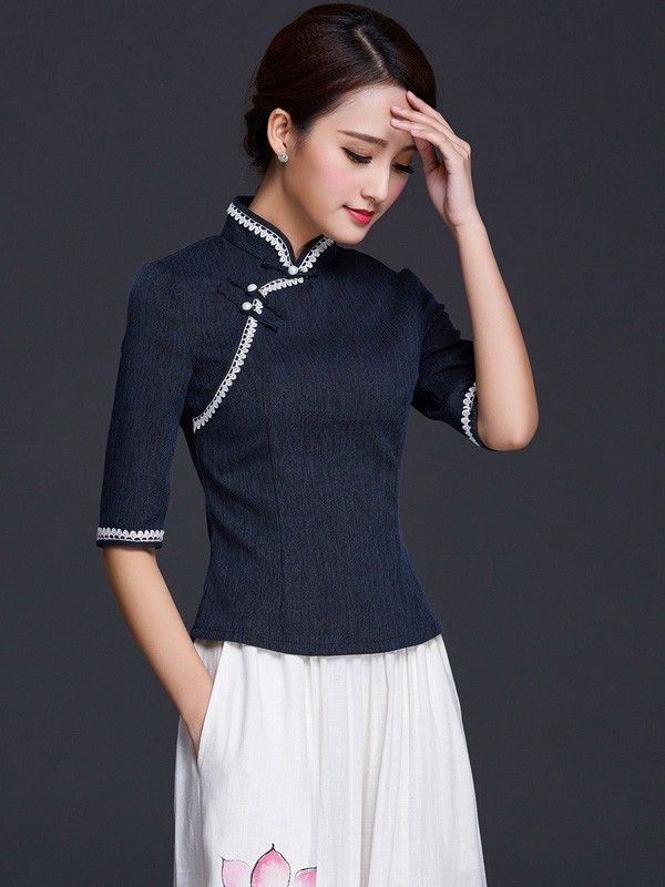 Half Sleeve Mandarin Collar Qipao / Tang Top in Linen