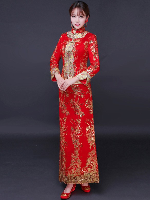 Long Sleeves Sequins Chinese Wedding Qun Kwa