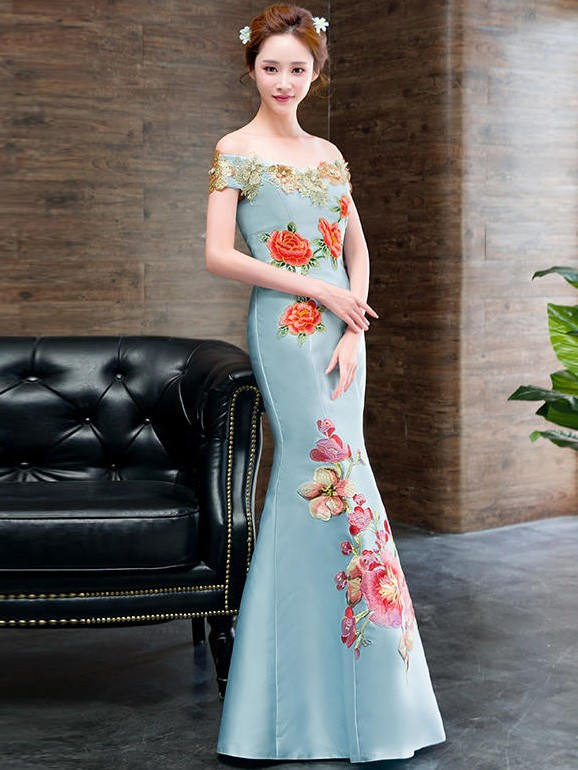 Blue Off Shoulder Fishtail Qipao / Cheongsam Dress with Embroidery