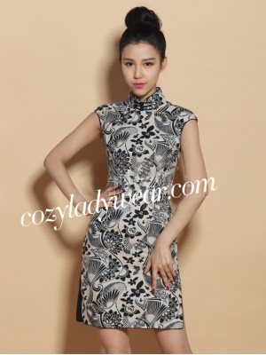 Custom Tailored Black and White Floral Linen Qipao / Cheongsam Dress