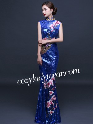 Embroidered Sequin Qipao / Cheongsam Gown, Magnolia Blossom